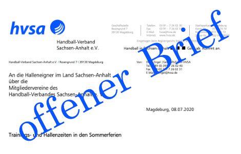Offener Brief des Präsidiums an die Halleneigner und -betreiber im Handball-Land Sachsen-Anhalt